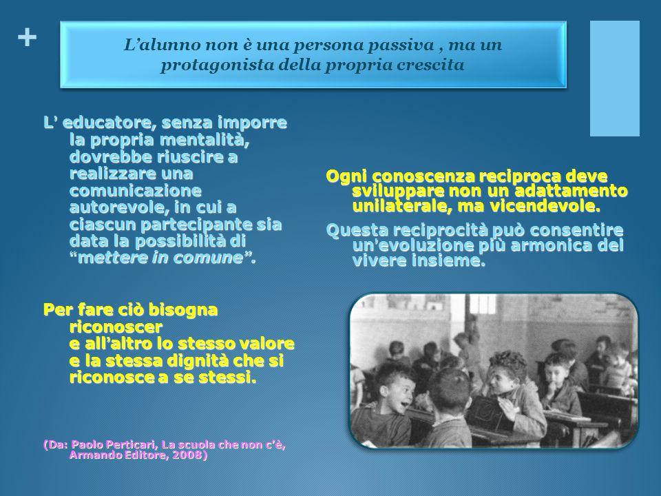 L'alunno non è una persona passiva , ma un protagonista della propria crescita
