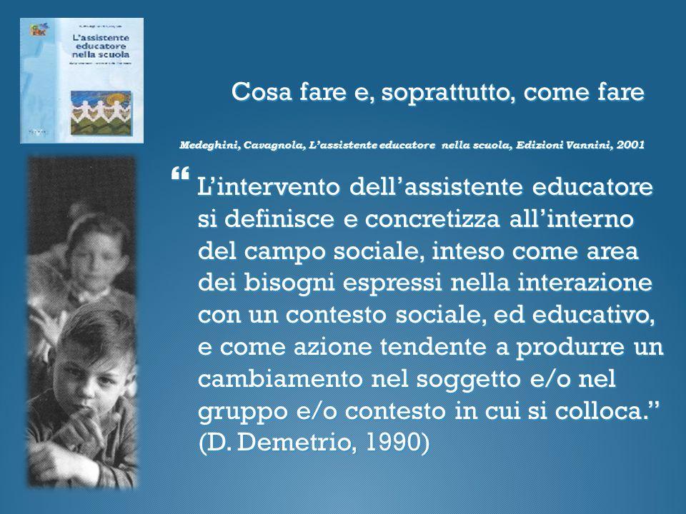 Cosa fare e, soprattutto, come fare Medeghini, Cavagnola, L'assistente educatore nella scuola, Edizioni Vannini, 2001