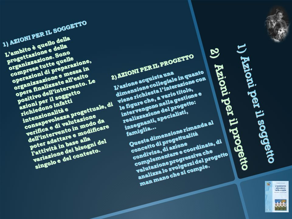 1) Azioni per il soggetto 2) Azioni per il progetto