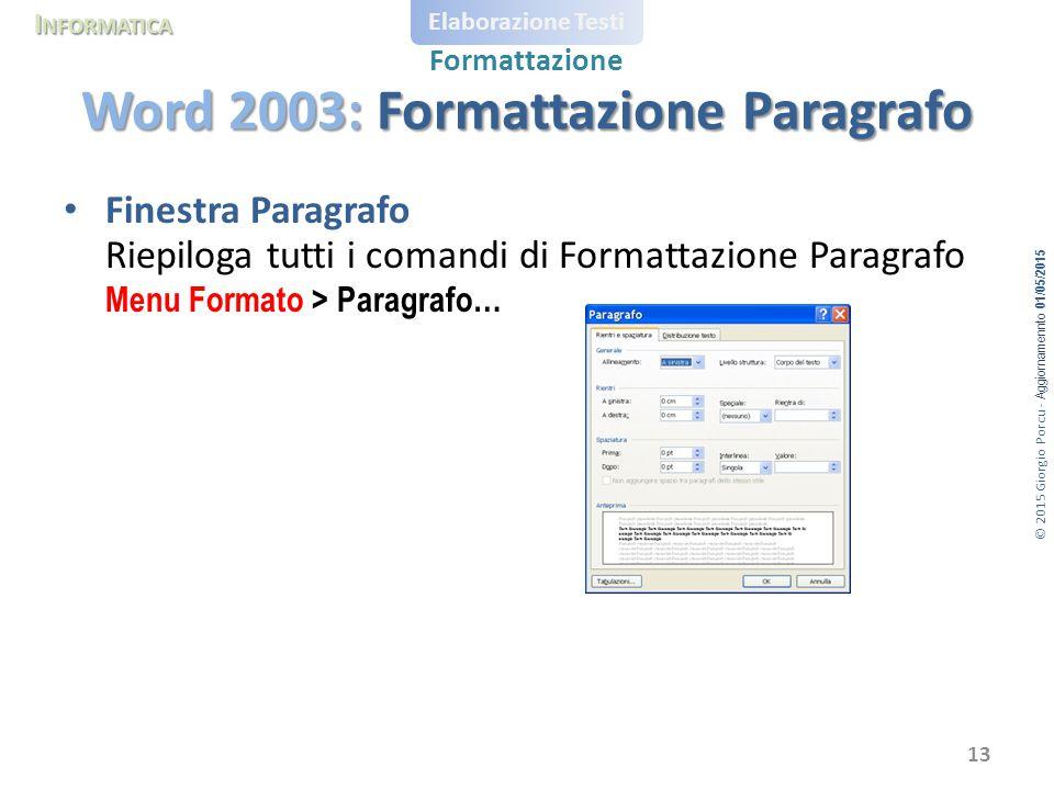 Word 2003: Formattazione Paragrafo