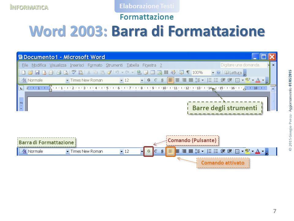 Word 2003: Barra di Formattazione
