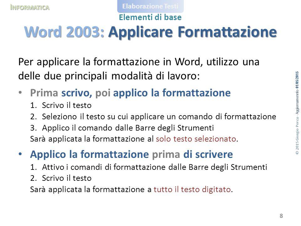 Word 2003: Applicare Formattazione