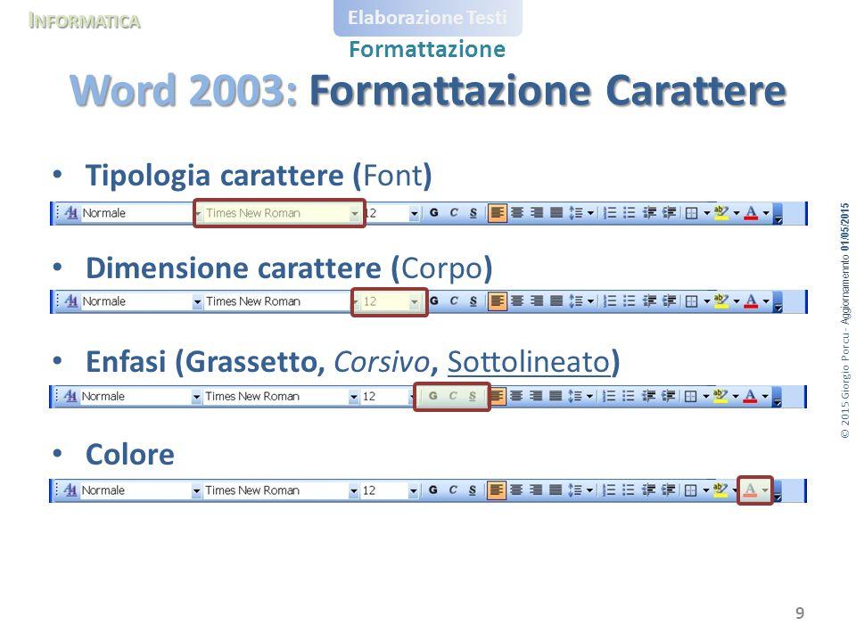 Word 2003: Formattazione Carattere