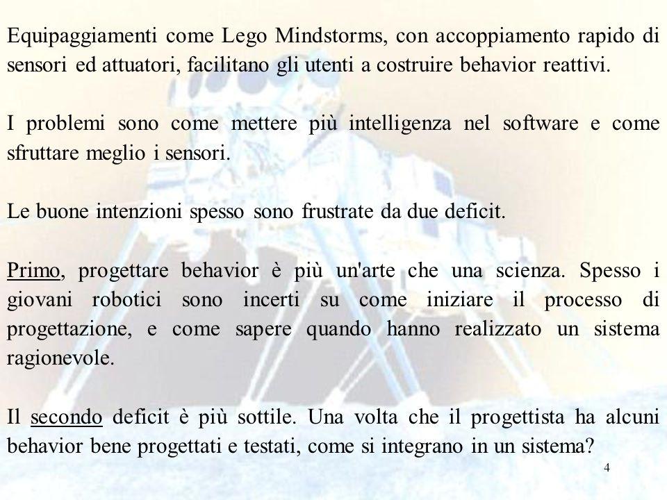 Equipaggiamenti come Lego Mindstorms, con accoppiamento rapido di sensori ed attuatori, facilitano gli utenti a costruire behavior reattivi.