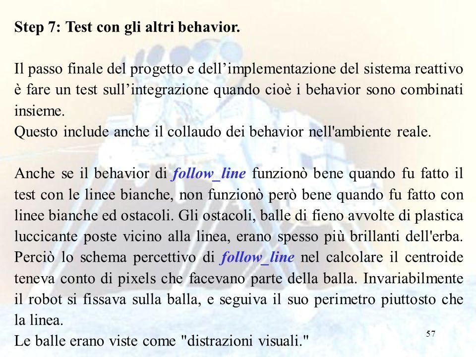 Step 7: Test con gli altri behavior.
