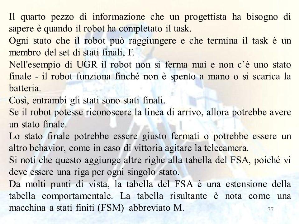 Il quarto pezzo di informazione che un progettista ha bisogno di sapere è quando il robot ha completato il task.