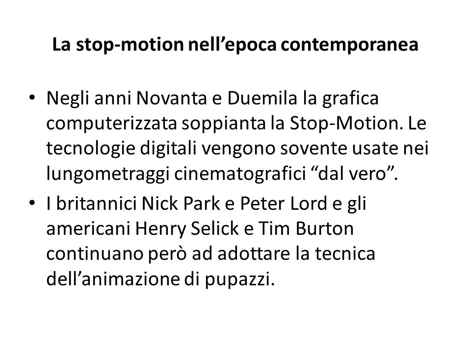 La stop-motion nell'epoca contemporanea