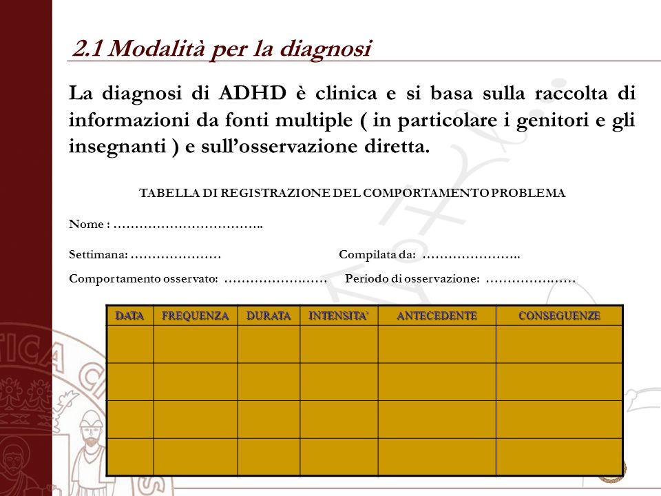 2.1 Modalità per la diagnosi