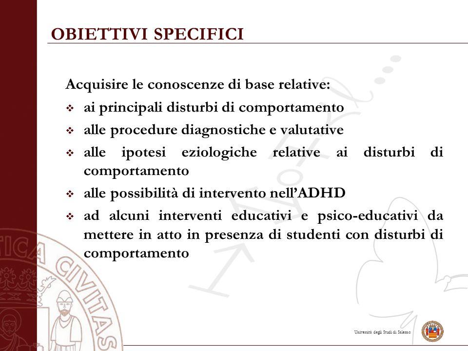 OBIETTIVI SPECIFICI Acquisire le conoscenze di base relative: