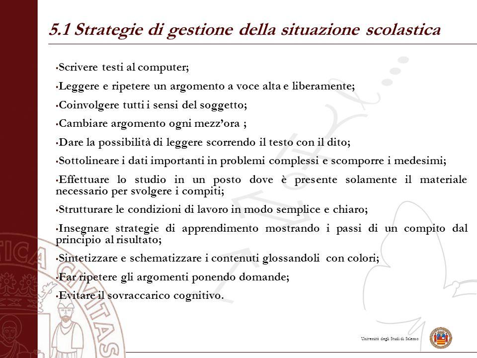 5.1 Strategie di gestione della situazione scolastica