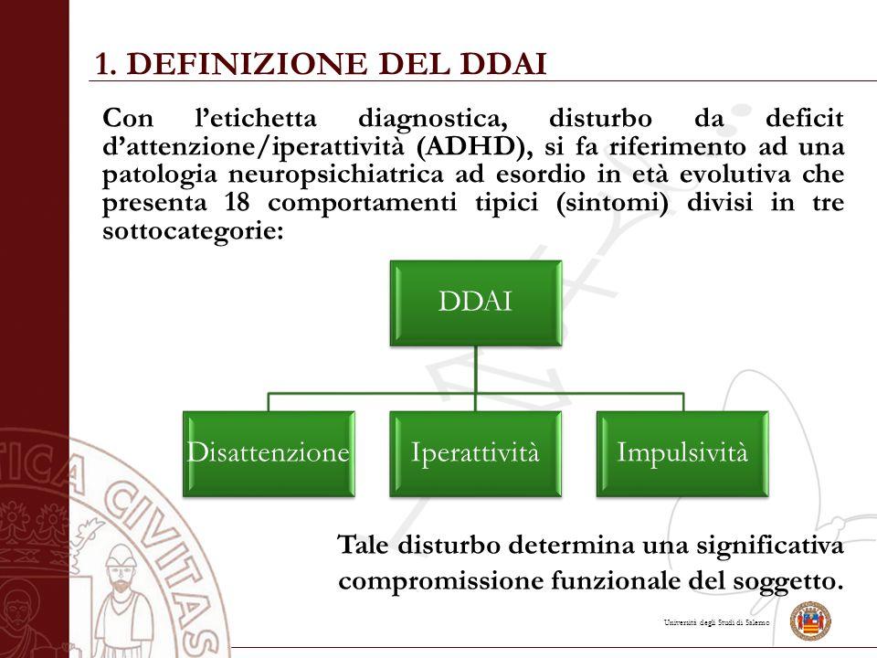 1. DEFINIZIONE DEL DDAI DDAI Disattenzione Iperattività Impulsività