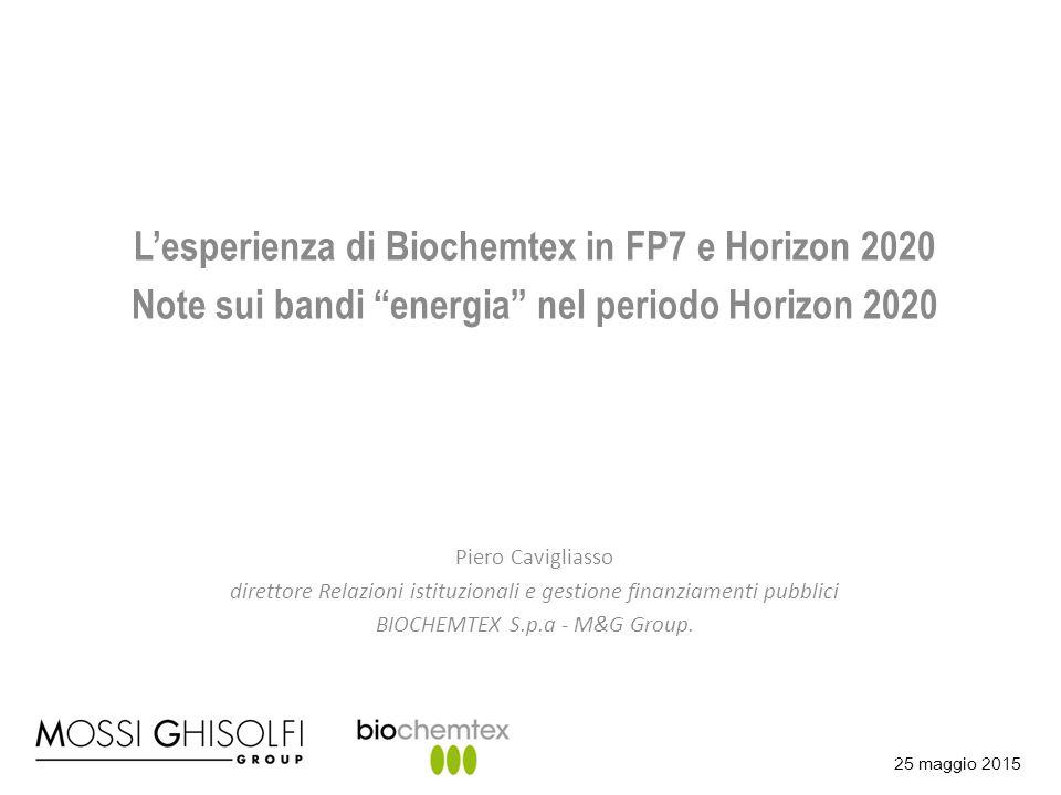 L'esperienza di Biochemtex in FP7 e Horizon 2020
