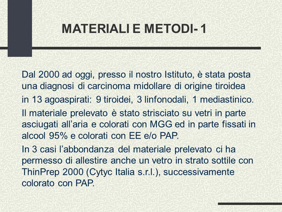 MATERIALI E METODI- 1 Dal 2000 ad oggi, presso il nostro Istituto, è stata posta una diagnosi di carcinoma midollare di origine tiroidea.