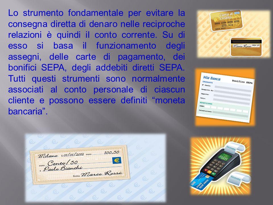 Lo strumento fondamentale per evitare la consegna diretta di denaro nelle reciproche relazioni è quindi il conto corrente.