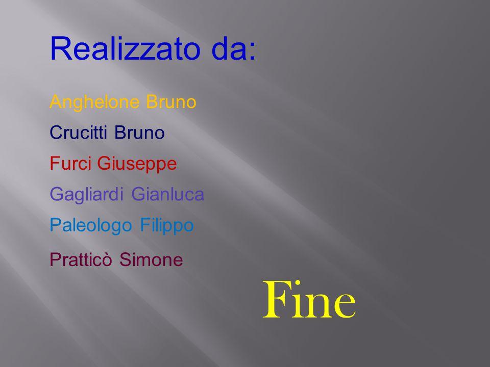 Fine Realizzato da: Anghelone Bruno Crucitti Bruno Furci Giuseppe