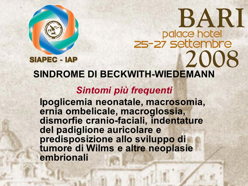 SINDROME DI BECKWITH-WIEDEMANN