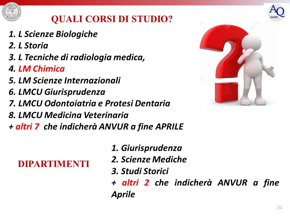 QUALI CORSI DI STUDIO 1. L Scienze Biologiche. 2. L Storia. 3. L Tecniche di radiologia medica, 4. LM Chimica.