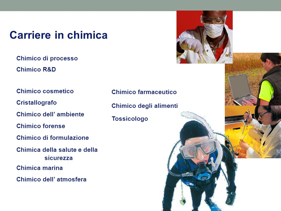 Carriere in chimica Chimico di processo Chimico R&D Chimico cosmetico