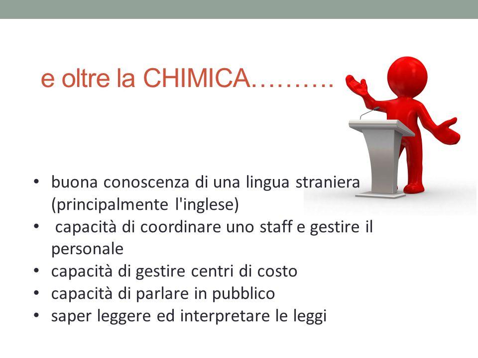 e oltre la CHIMICA………. buona conoscenza di una lingua straniera (principalmente l inglese) capacità di coordinare uno staff e gestire il personale.