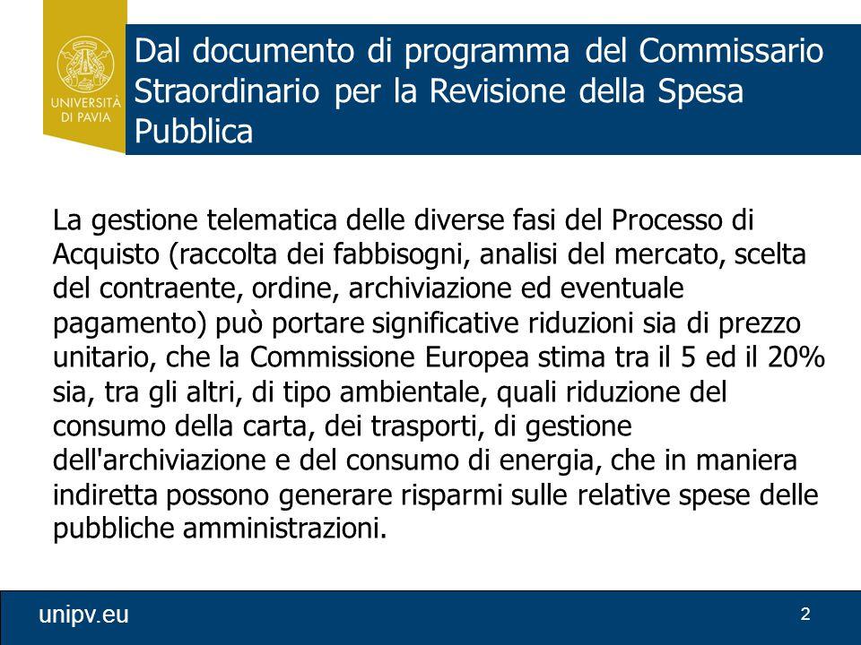Dal documento di programma del Commissario Straordinario per la Revisione della Spesa Pubblica