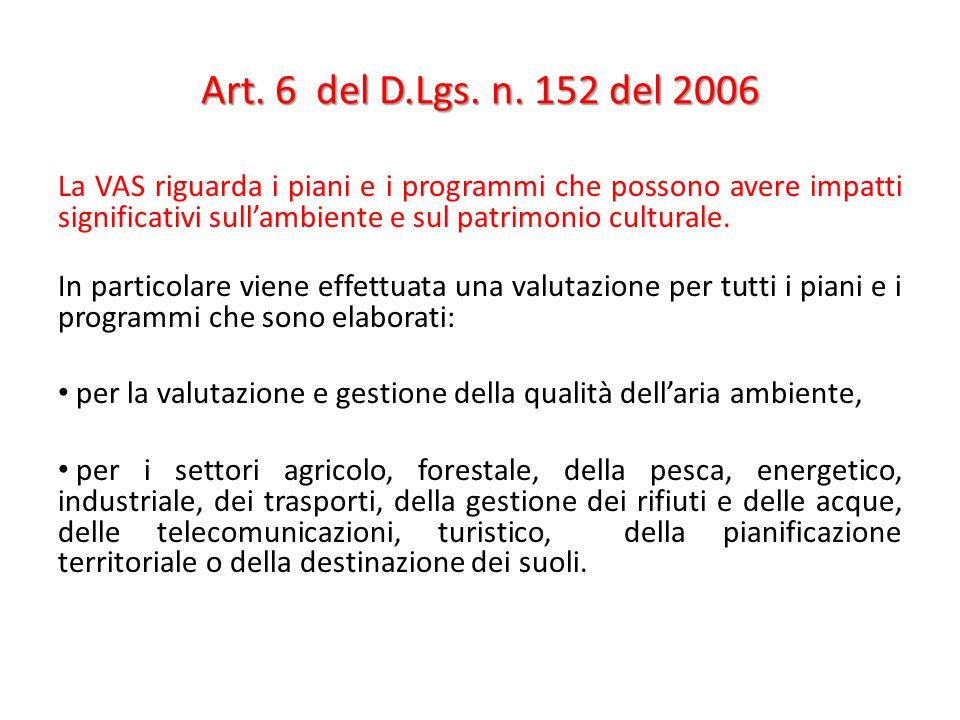 Art. 6 del D.Lgs. n. 152 del 2006