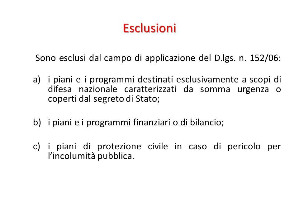Esclusioni Sono esclusi dal campo di applicazione del D.lgs. n. 152/06: