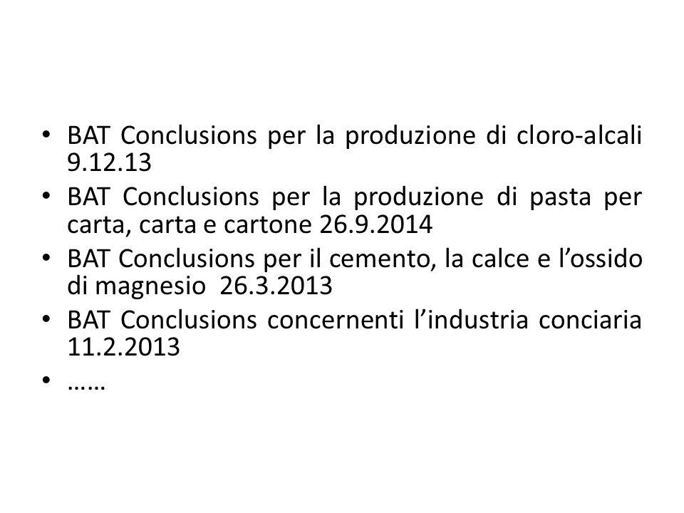 BAT Conclusions per la produzione di cloro-alcali 9.12.13