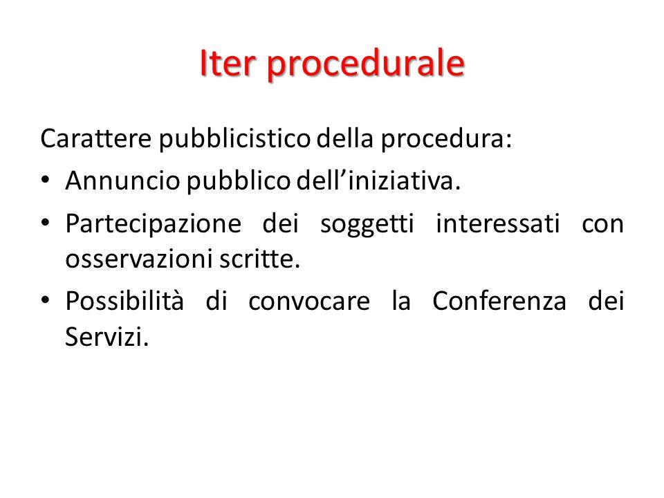 Iter procedurale Carattere pubblicistico della procedura: