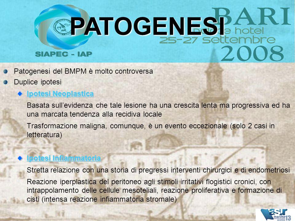 PATOGENESI Patogenesi del BMPM è molto controversa Duplice ipotesi