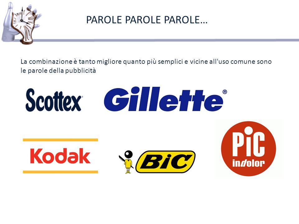 PAROLE PAROLE PAROLE… La combinazione è tanto migliore quanto più semplici e vicine all uso comune sono le parole della pubblicità.