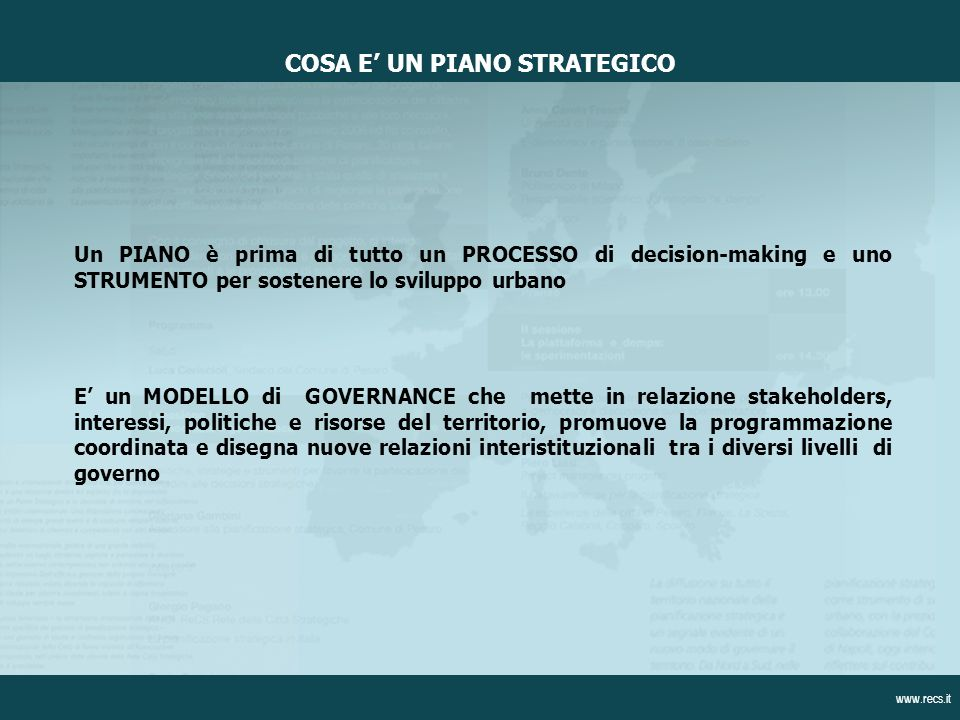 COSA E' UN PIANO STRATEGICO