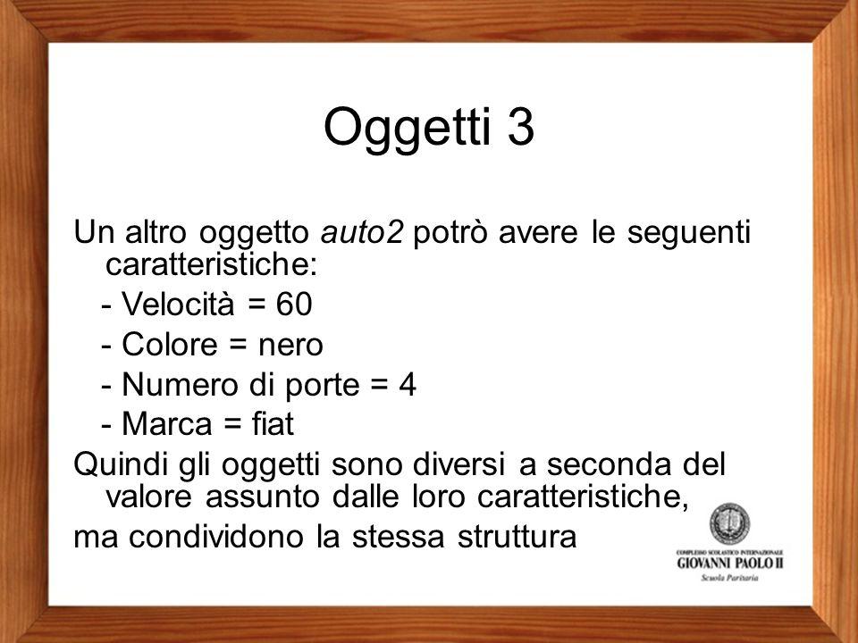 Oggetti 3 Un altro oggetto auto2 potrò avere le seguenti caratteristiche: - Velocità = 60. - Colore = nero.