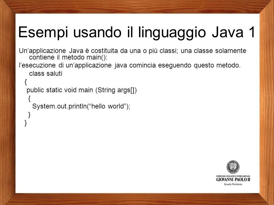 Esempi usando il linguaggio Java 1
