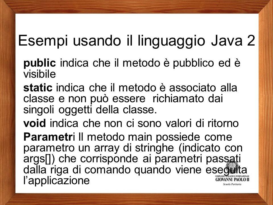 Esempi usando il linguaggio Java 2