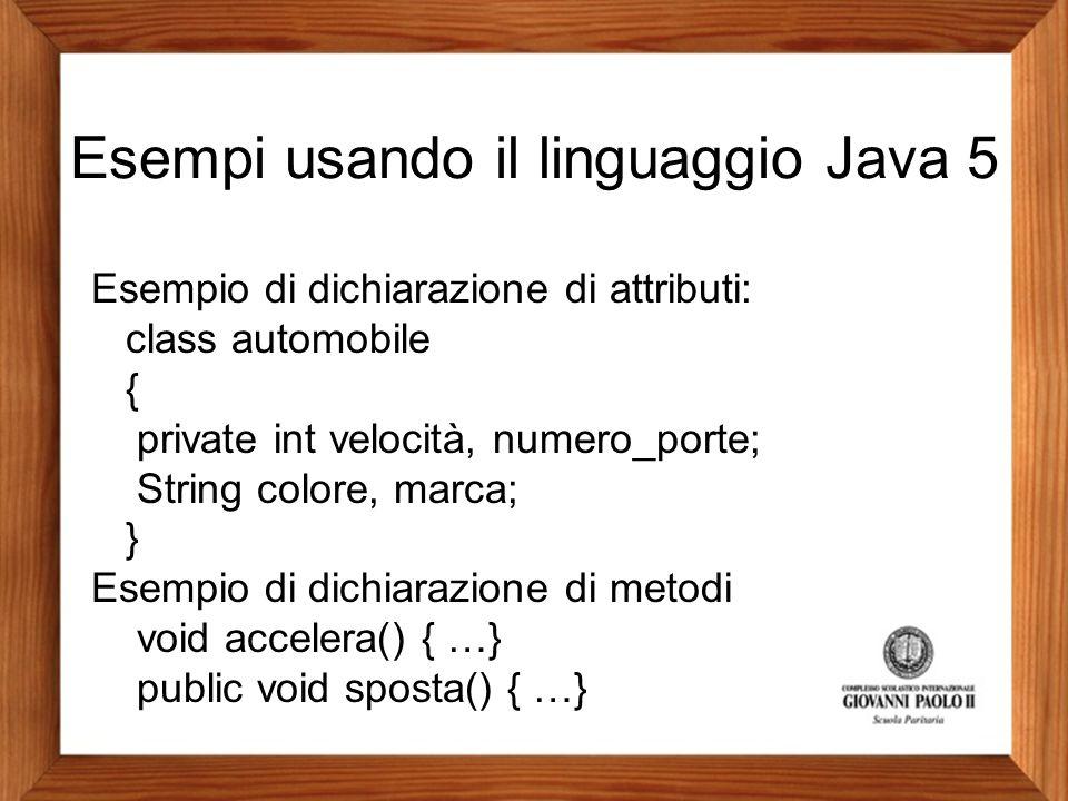 Esempi usando il linguaggio Java 5