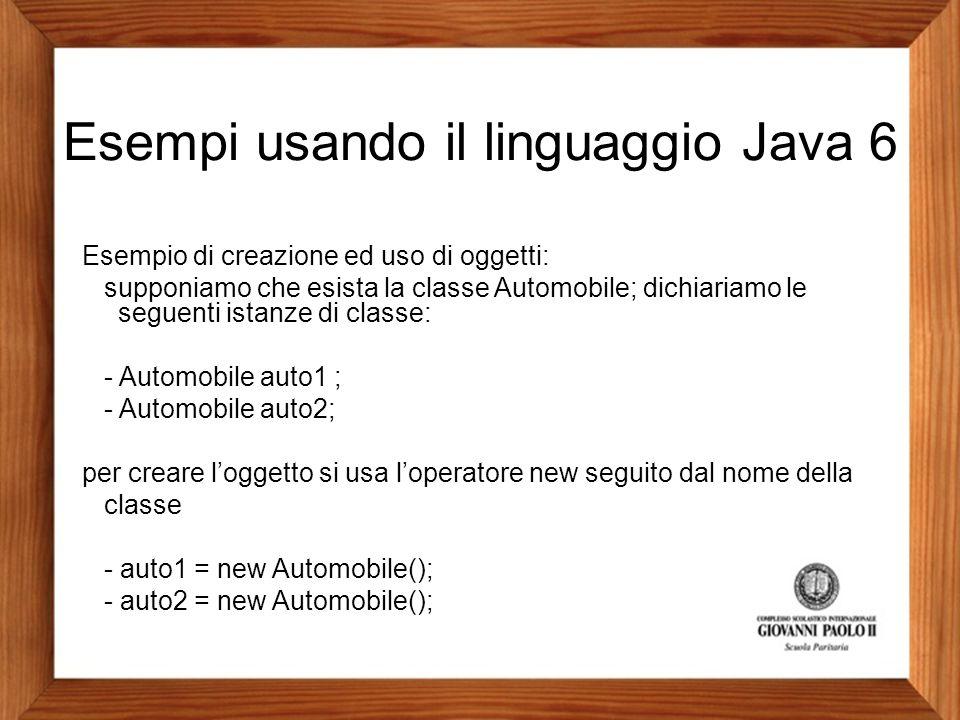 Esempi usando il linguaggio Java 6