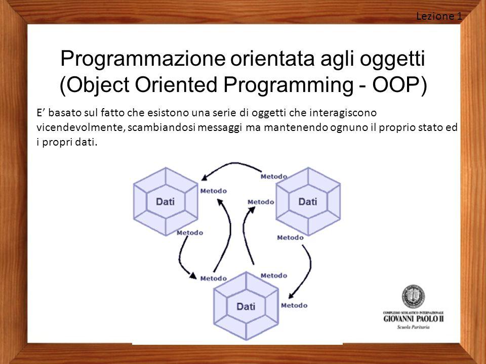 Lezione 1 Programmazione orientata agli oggetti (Object Oriented Programming - OOP)