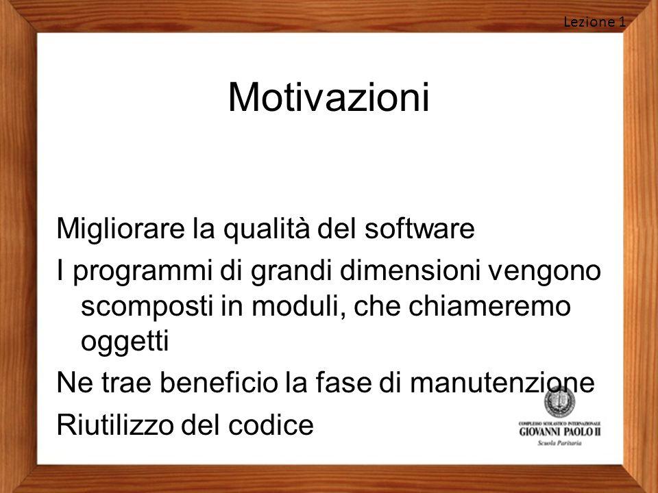 Motivazioni Migliorare la qualità del software