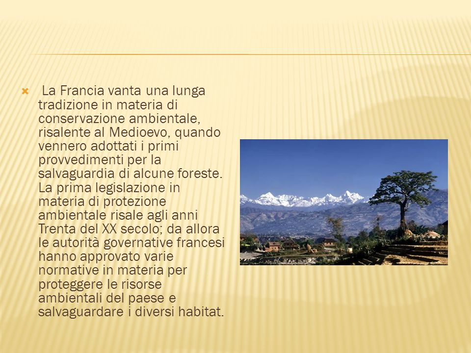 La Francia vanta una lunga tradizione in materia di conservazione ambientale, risalente al Medioevo, quando vennero adottati i primi provvedimenti per la salvaguardia di alcune foreste.