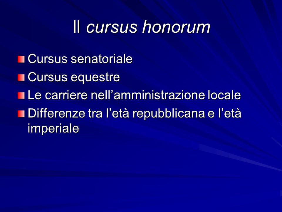 Il cursus honorum Cursus senatoriale Cursus equestre