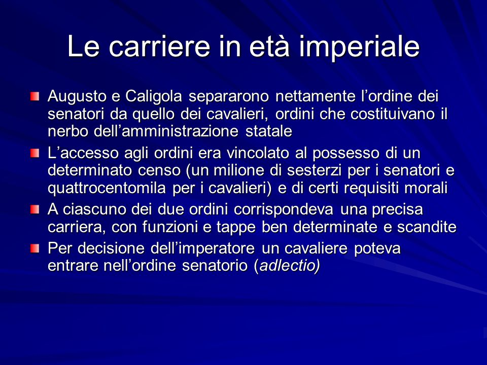 Le carriere in età imperiale