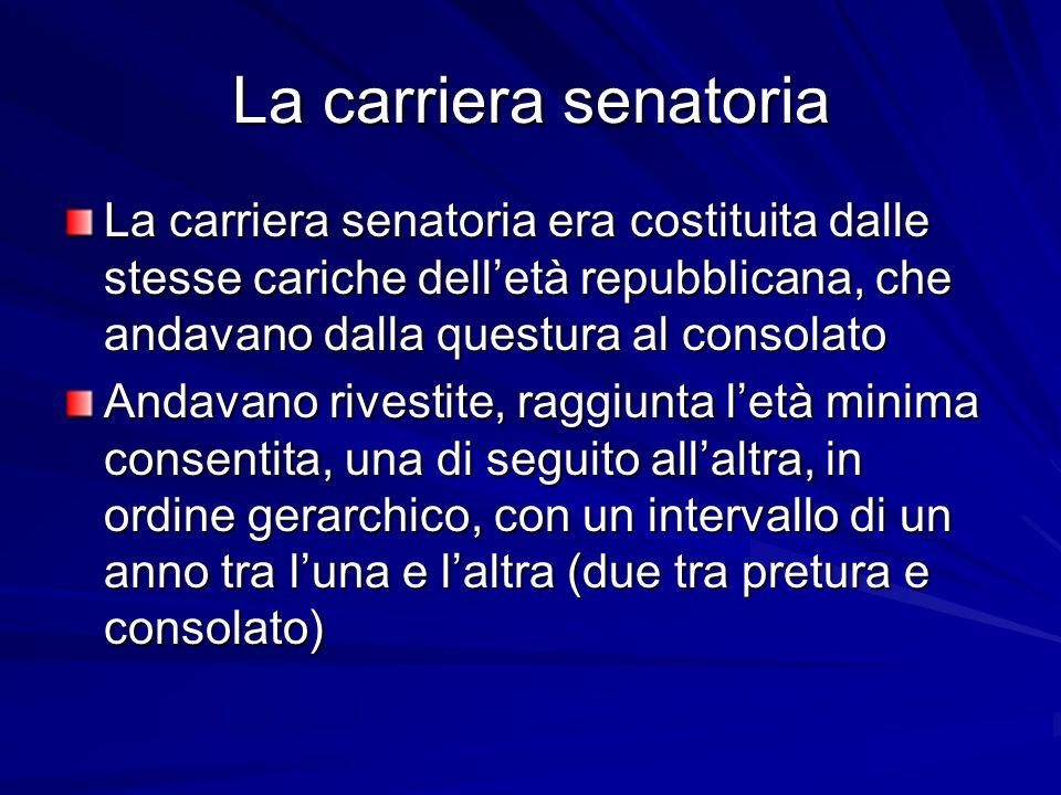 La carriera senatoria La carriera senatoria era costituita dalle stesse cariche dell'età repubblicana, che andavano dalla questura al consolato.
