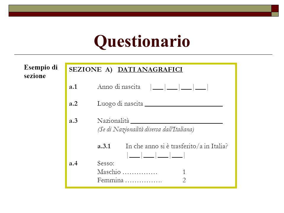 Questionario Esempio di sezione SEZIONE A) DATI ANAGRAFICI