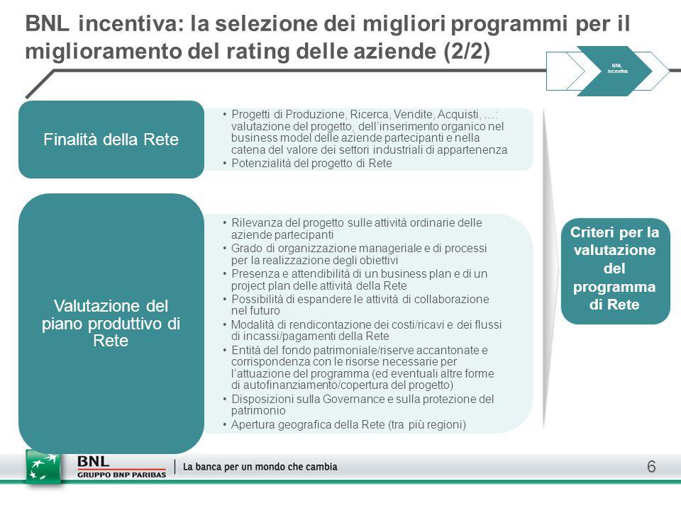 Criteri per la valutazione del programma di Rete