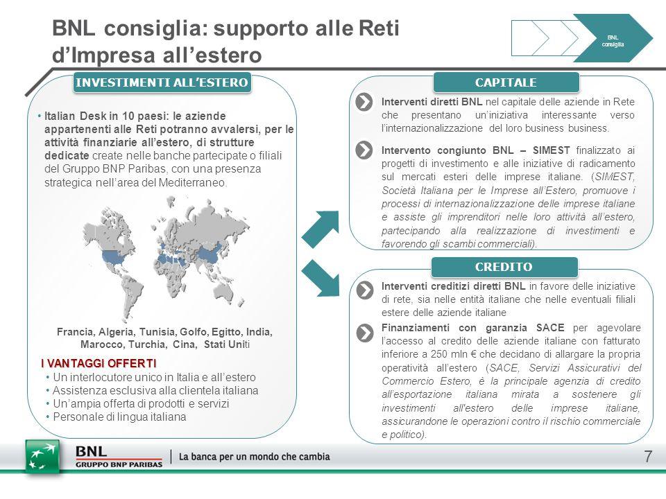 BNL consiglia: supporto alle Reti d'Impresa all'estero