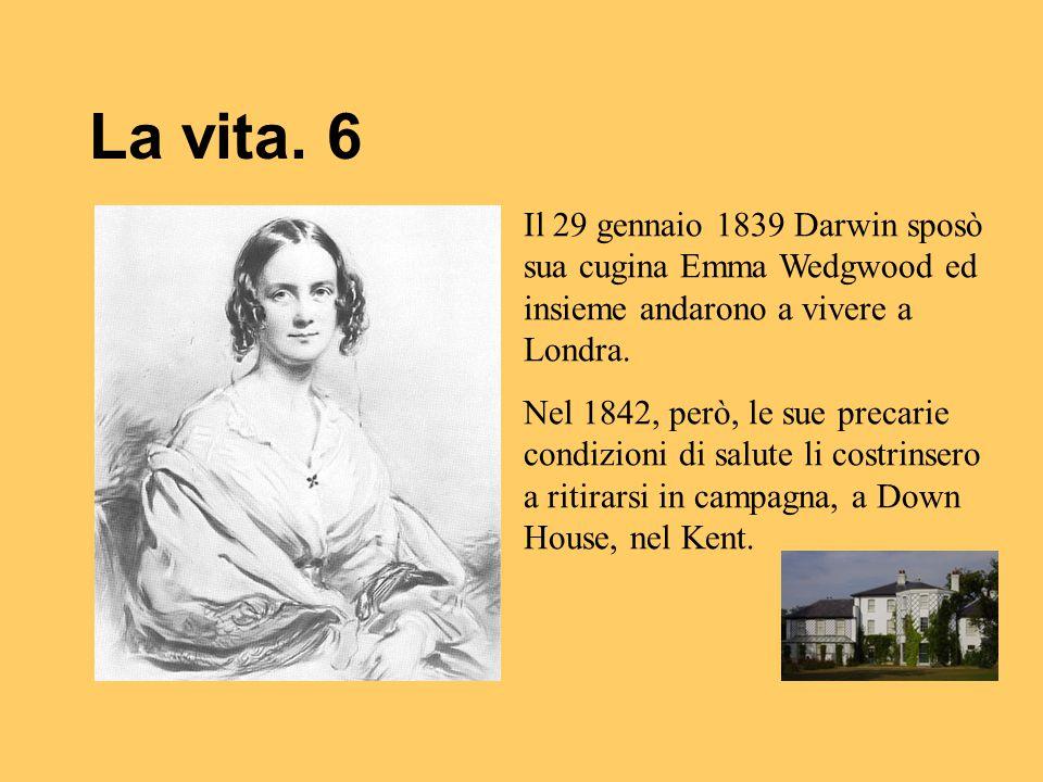 La vita. 6 Il 29 gennaio 1839 Darwin sposò sua cugina Emma Wedgwood ed insieme andarono a vivere a Londra.