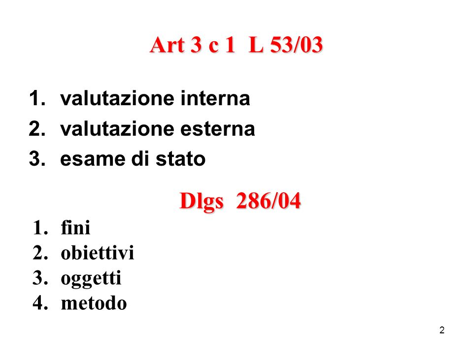 Art 3 c 1 L 53/03 Dlgs 286/04 valutazione interna valutazione esterna