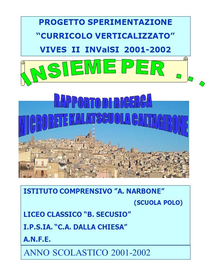 ANNO SCOLASTICO 2001-2002 PROGETTO SPERIMENTAZIONE