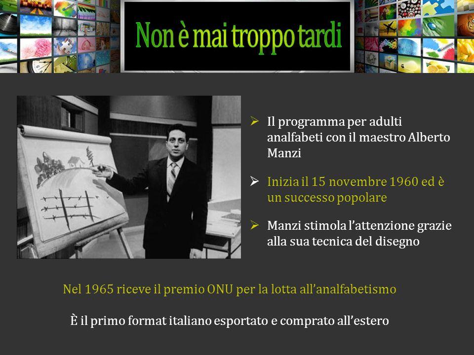 Non è mai troppo tardi Il programma per adulti analfabeti con il maestro Alberto Manzi. Inizia il 15 novembre 1960 ed è un successo popolare.