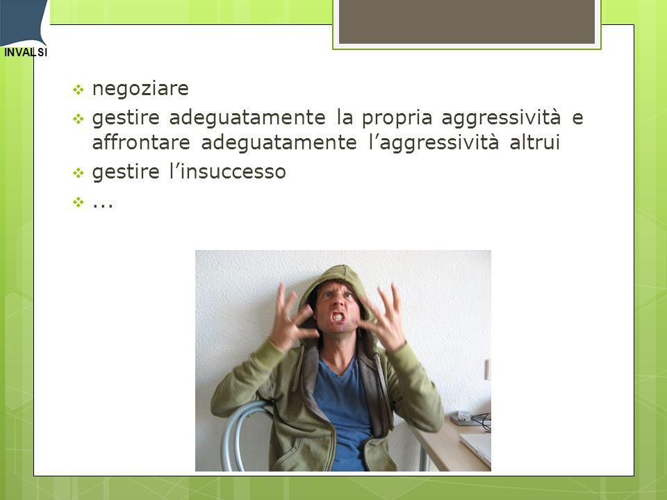 negoziare gestire adeguatamente la propria aggressività e affrontare adeguatamente l'aggressività altrui.